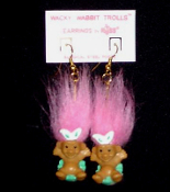 Tiny TROLL WACKY WABBIT EARRINGS - Mini Spring Easter Egg Jewelry -PINK Hair