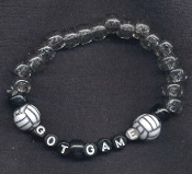 "VOLLEYBALL """"GOT GAME"""" Stretch BRACELET - Team Coach Jewelry - Alphabet Beads -BLACK LETTERS - Choose Bead Color!"
