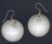 Huge Funky VOLLEYBALL EARRINGS - Coach Referee Gift Lucky Team Sports Player Novelty Costume Jewelry - Big White, detailed, hollow, Dimensional blow-mold plastic toy. Extremely lightweight VOLLEY BALL charms. You can almost BUMP these!