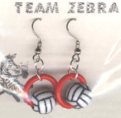 VOLLEYBALL BEAD RING EARRINGS - Coach Charm Gift - Team Player Jewelry - RED Ring. Spike this!