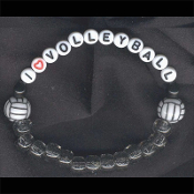 VOLLEYBALL BRACELET - I (LOVE) - Team Coach Jewelry Alphabet Beads -WHITE LETTERS - Choose Bead Color!