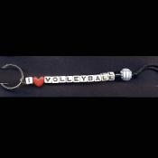 VOLLEYBALL KEYCHAIN - I (LOVE) - Funky Alpha Beads Team Coach Player Gift - Choose Bead Color!