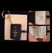 BIBLE KEYCHAIN - WWJD - Religious Graduation Gift Jewelry - Real Printed Pages -BLACK