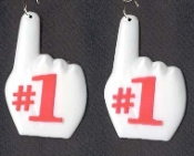 Big #1 BIG FINGER EARRINGS - Sports Dangle CHEERLEADER Collectible Dimensional Charm Jewelry - RED