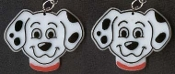 101 DALMATIONS EARRINGS - Disney Dalmation Cartoon Movie Fire Fighter Fireman Collectible Novelty Costume Jewelry - BIG Dimensional Plastic Puppy Dog Charm. Every Fire truck collector should have these. Cruella de Vil will be green with envy!