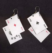 4-ACES PLAYING CARDS EARRINGS - Las Vegas Lucky Charm Costume Jewelry - Plastic coated paper charms approx. 1.5-inch (3.75cm) long x 1-inch (2.5cm) wide. All 4-suits, for your favorite gambler!