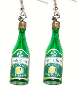 Funny Irish Drunk - Miniature IRISH CHEER WHISKEY BEER BOTTLE EARRINGS - St. Patrick's Day Pub Bar Drink Novelty Costume Jewelry. Big realistic Dimensional Funky Bartender Cocktail Waitress Shamrock Green Mini Booze Plastic Charm.