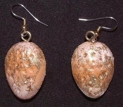 ALMONDS EARRINGS - Glittery Holiday Nuts Fun Christmas Jewelry - Realistic Nutty ALMOND