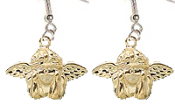 CHERUB CUPID DAY-DREAMER ANGEL WINGED EARRINGS - Gold-Plated Metal Love Charms Jewelry