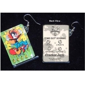 ANIMANIACS PIN Ball Game EARRINGS - TIME-OUT - Genuine Cracker Jack Plastic Charms Jewelry