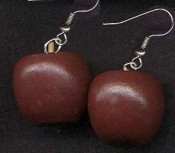 Mini Wood APPLE EARRINGS - Wood Country Teacher Doctor 3-d Jewelry
