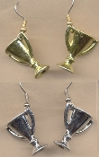 TROPHY LOVING CUP EARRINGS - 1st Place Winner - Coach Charm Jewelry ... 1-pair of shiny, assorted silver or gold, metallic painted plastic charms.