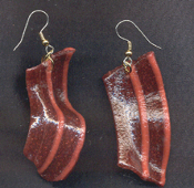 Huge BACON STRIP BEEF JERKY EARRINGS - Realistic Breakfast Food Jewelry