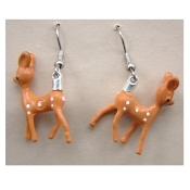 Vintage Mini Baby BAMBI REINDEER EARRINGS - Winter Hunting Deer Jewelry