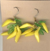 Mini Vintage BANANA BUNCH EARRINGS - Miniature Tropical Fruit Food Charm Beads Jewelry - Really A - PEELING to wear!!!