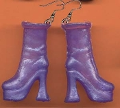 BARBIE PLATFORM BOOTS / SHOES EARRINGS - Purple - Novelty Mini Fashion Doll Toy Jewelry