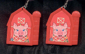 PIG RED BARN EARRINGS - HUGE Country Farm Animal Farmer Jewelry