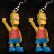 The Simpsons - BART EARRINGS - BIG Funky Novelty Dysfunctional TV Cartoon Family Character Jewelry