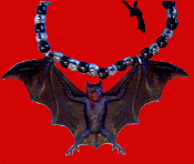 Huge Funky Gothic BAT AMULET NECKLACE - GIANT Black and Brown Halloween Dracula Witch Pendant Novelty Costume Jewelry - Cool classic goth accessory for Halloween Costume Party, Twilight Dark Shadows fan or Vampire Collector.