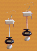 Mini Novelty Bathroom TOILET EARRINGS - Restroom Commode Plumbing Cleaning Costume Jewelry - Funky, miniature plastic Plumber Maid House-cleaning charm. Great for a ''potty'' mouth!
