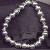 BEADS STRETCH BRACELET - Great-for-Charms - Charm -SILVER