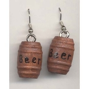 BEER BARREL KEG KEGGER EARRINGS - Funky Punk Raver College Bar Party - Brewery Mardi Gras Oktoberfest Jewelry