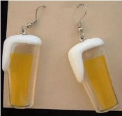 BEER GLASS EARRINGS - Drink Waitress Sports Fan Bar Jewelry - HUGE plastic dimensional charm