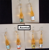 BEER / WHITE WINE BOTTLE EARRINGS - Mini Imported Malt Liquor Jewelry - Miniature Restaurant Chef Plastic Charms - 1 Pair from Assortment