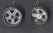 BMX TIRES EARRINGS - Stunt Dirt Bike Bicycle Motorcycle Scooter Cycle - Realistic detailed toy charm jewelry.