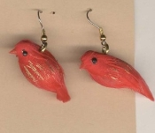Funky Mini RED FEATHER BIRDS EARRINGS - Spring Garden Bird Watcher Birder Holiday Charm Costume Jewelry - Genuine feathered miniature gold accented scarlet Birdie charms. Great gift for any Red Hat Society member!