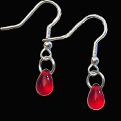 VAMPIRE RED BLOOD DROP EARRINGS - True Gothic Dracula Costume Jewelry