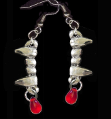 Bite Me Fang Banger Blood Drop VAMPIRE FANGS EARRINGS Gothic Costume Jewelry Silver-tone Pewter Fangs Charm Pierced Earrings. Perfect for any aspiring vampire! Add this fun accessory to your True Blood, Vampire Diaries, Twilight, Dusk Til Dawn party.