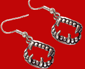 Funky Bite Me - Fang Banger - True Blood Drop Dracula VAMPIRE FANGS FALSE TEETH EARRINGS Gothic Costume Jewelry Silvertone Pewter Fangs Charm Pierced Earrings. Perfect jewelry for any aspiring Dusk Til Dawn vampire!