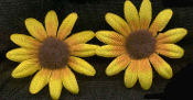 DAISY BLACK-EYED SUSAN BUTTON EARRINGS - Silk Fabric Flower Charm Jewelry