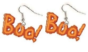"Big Glow-in-the-Dark ""BOO"" EARRINGS - Orange Halloween Party Jewelry"