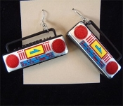 Big BOOM BOX CHARM EARRINGS - DJ Radio Music Punk Rockabilly Jewelry