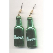 BOTTLE of BOOZE - LIQUOR EARRINGS - Bar - Restaurant - Bartender Jewelry - METALLIC GREEN Plastic Charm