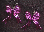 HOT PINK METALLIC RIBBON BOWS EARRINGS - Valentines Day Jewelry