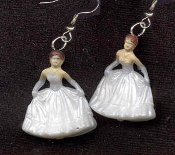 Tiny BRIDE in WHITE GOWN EARRINGS - Communion Confirmation Cotillion Jewelry