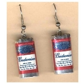 Funky Mini BUDWEISER BUD BEER CANS EARRINGS - Waitress Bartender Punk Fun Food Sports Bar Drink Charm Costume Jewelry - Miniature Metallic Paper-covered, Plastic Dimensional King of BEERS CAN charms.