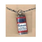 BUDWEISER BUD BEER PENDANT NECKLACE-King of Beers Funky Jewelry