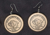 Realistic WOODEN NICKEL EARRINGS - Buffalo - Lucky Charm Faux Funny Money Gag Gift Jewelry