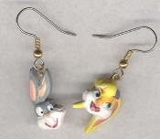 Funky BUGS and LOLA BUNNY EARRINGS - Warner Bros Looney Tunes Toy 3-D Love Couple Charm Costume Jewelry - Mini Charms Famous Bunnies Duo Boyfriend Girlfriend Pair. Great for Valentine's Day, Easter, Anniversary, Best Friends, Birthday Party.