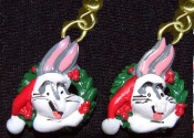 Funky Mini BUGS BUNNY SANTA CAP EARRINGS Christmas Wreath Holiday Novelty Costume Jewelry - Miniature Luney Toons Xmas button dangle ornament - Looney Tunes Warner Bros licensed cartoon comics character painted resin charm