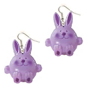 Huge PURPLE BUNNY RABBIT EARRINGS - Country Baby Farm Animal Jewelry