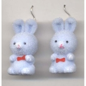 BUNNY EARRINGS - Easter Garden Rabbit Jewelry - Fuzzy BLUE
