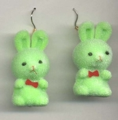 BUNNY EARRINGS - Easter Garden Rabbit Jewelry - Fuzzy GREEN