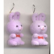 BUNNY EARRINGS - Easter Garden Rabbit Jewelry - Fuzzy PURPLE