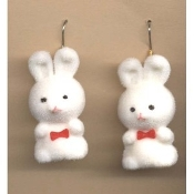 BUNNY EARRINGS - Easter Garden Rabbit Jewelry - Fuzzy WHITE