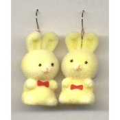 BUNNY EARRINGS - Easter Garden Rabbit Jewelry - Fuzzy YELLOW